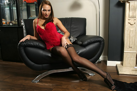 Gabriella Red Body Stockings p1 Leggy brunette model in nylon and stiletto heels