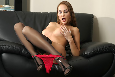 Gabriella Red Body Stockings p3 Red silk panty on nylon and stiletto high heels